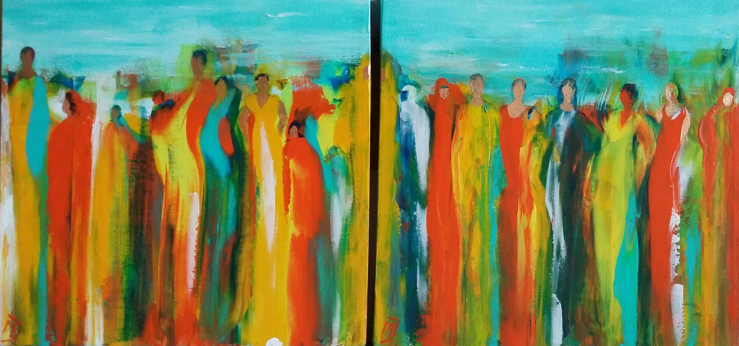 Gather At Dawn | Overige | Tweeluik 30x30 | Canvas | Niet Meer Beschikbaar