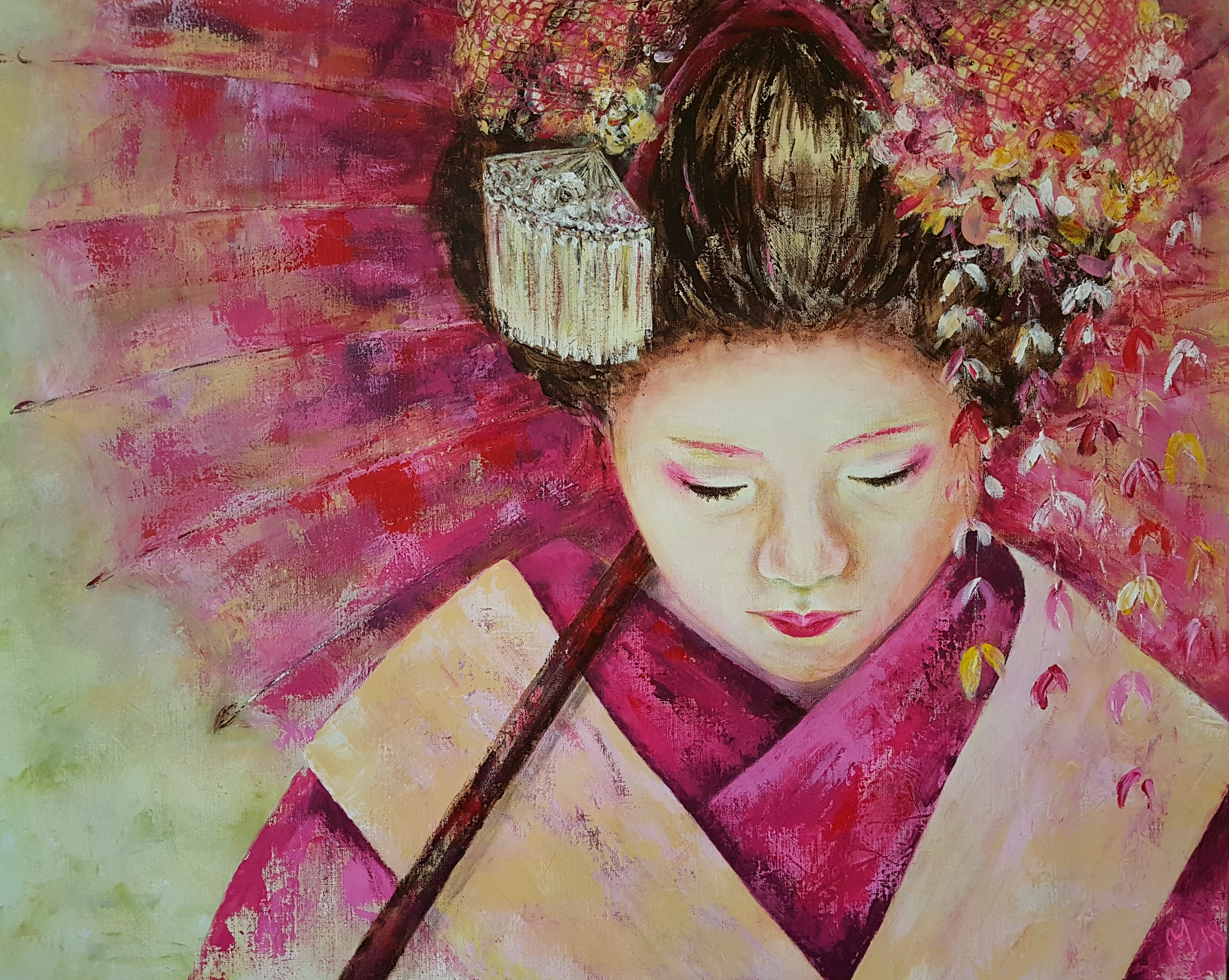 Geisha | Portretten | 80x100 | Linnen Aluminium Frame