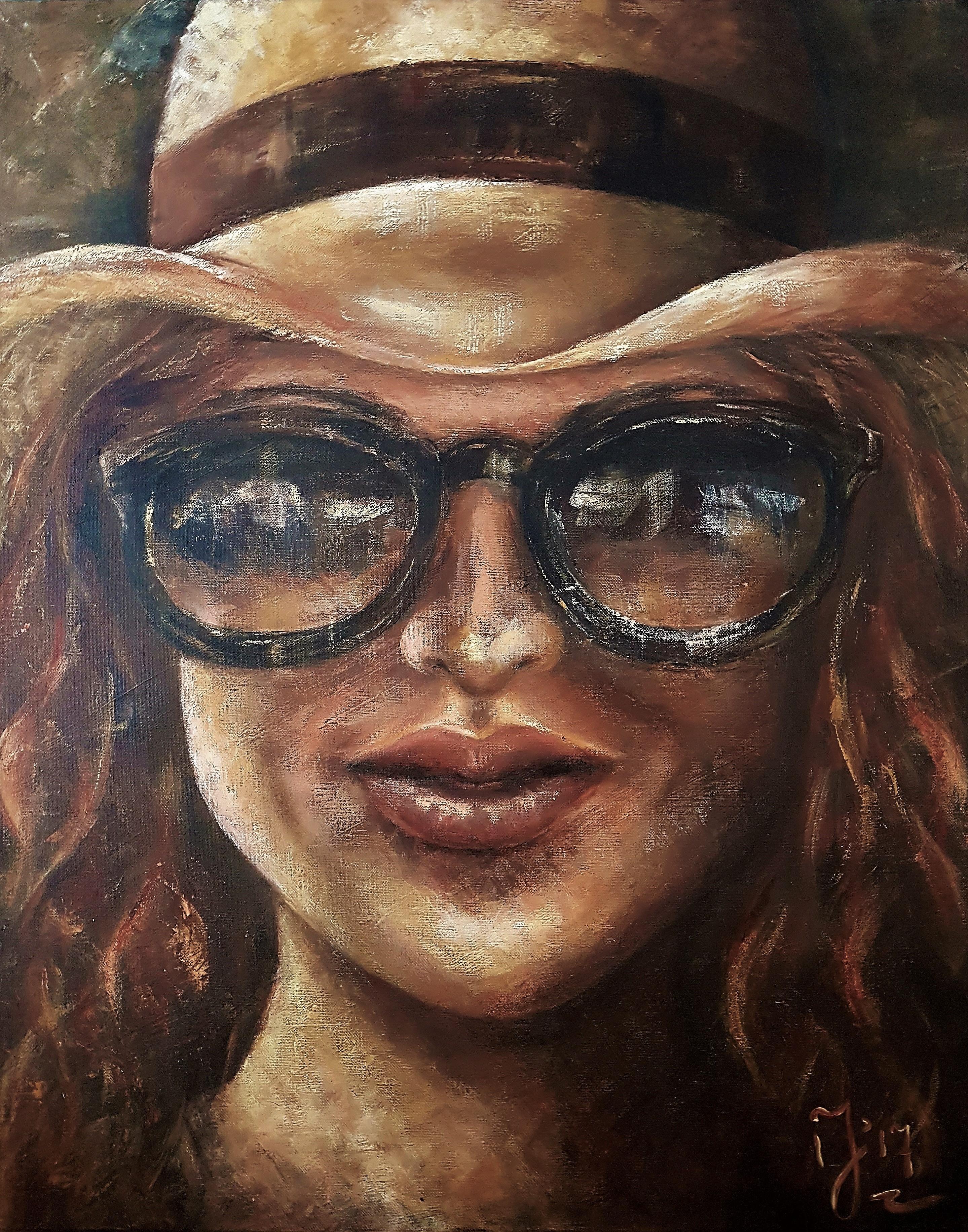 I Love My Sunglasses | Portretten | 80x100 | Linnen Aluminium Frame