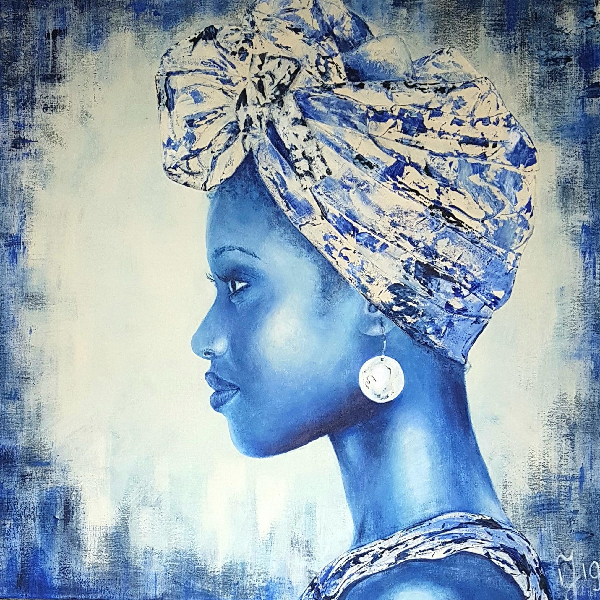 Delft Blue In Africa 1 | Portretten | 90x90 | Acryl Op Linnen | Momenteel Niet Beschikbaar