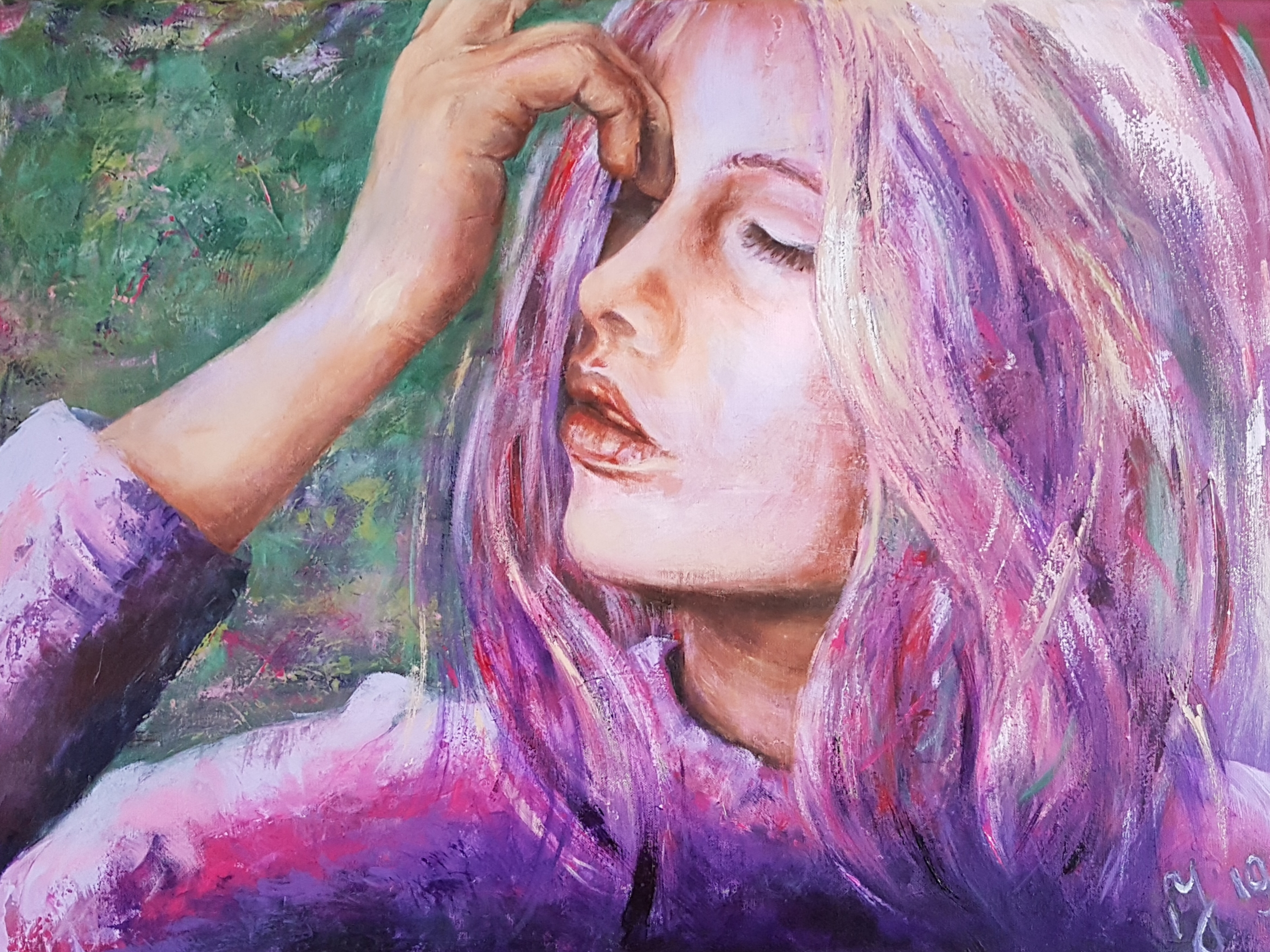 Woman In Purple | Portretten | 60x80 | Acryl Op Linnen