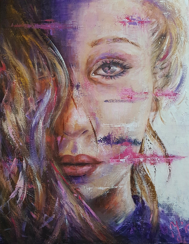 Hidden Behind The Mask | Portretten | 90x115 | Acryl  Op Linnen Aluminium Frame