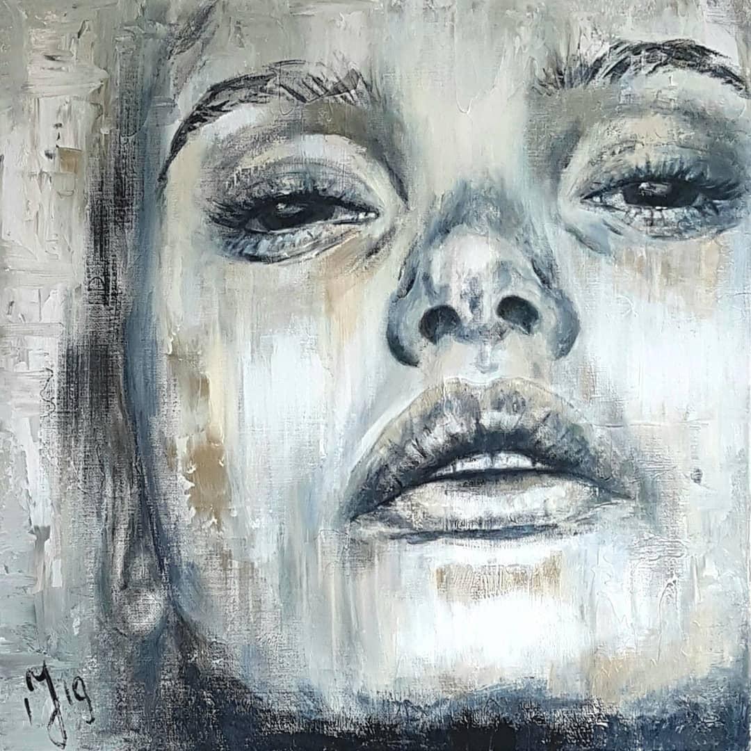 Lady In Gray   Portretten   70x70   Acryl Op Linnen