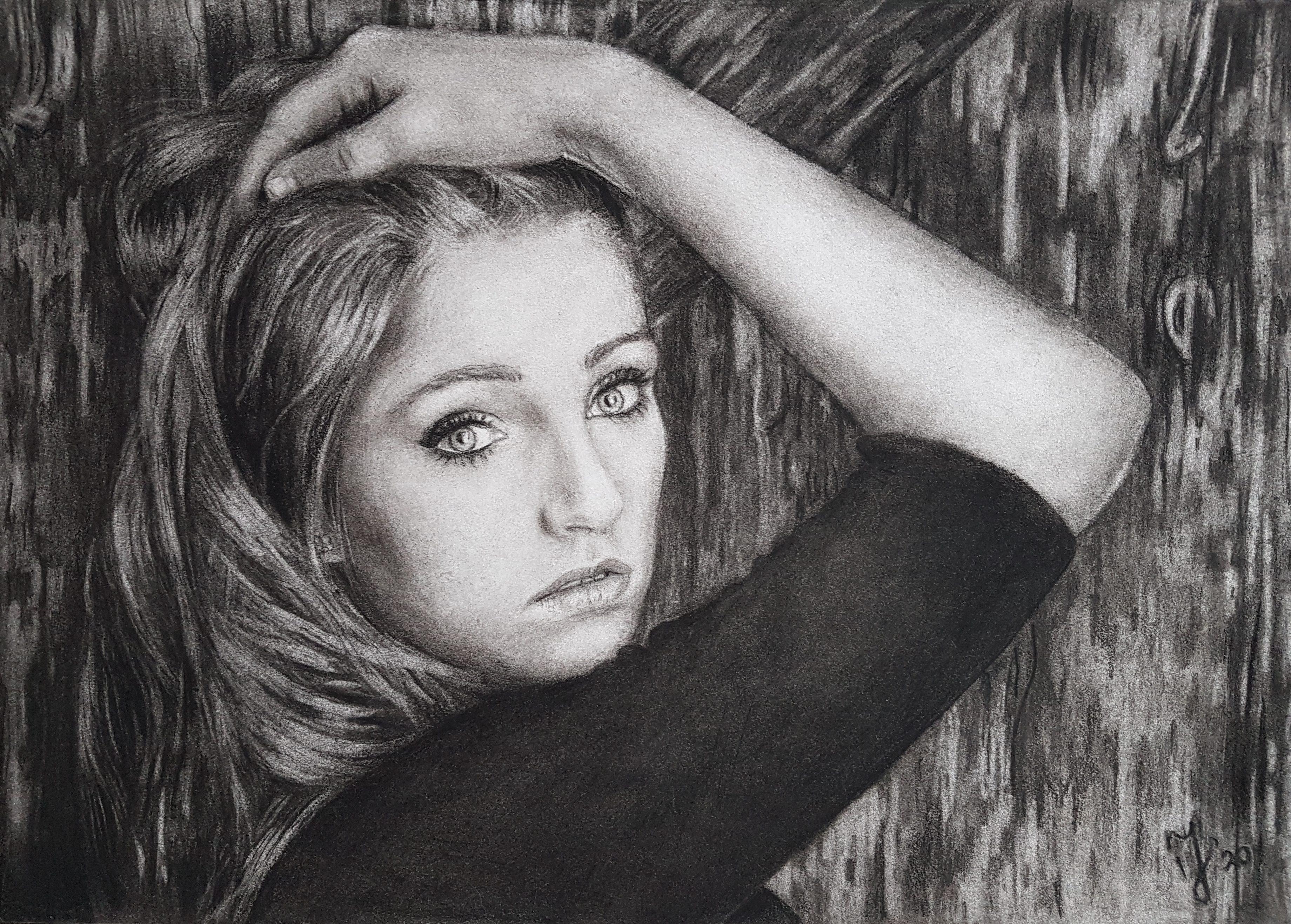 Myrthe   Portretten   Study   Tekening Grafiet Conté   A3 papier