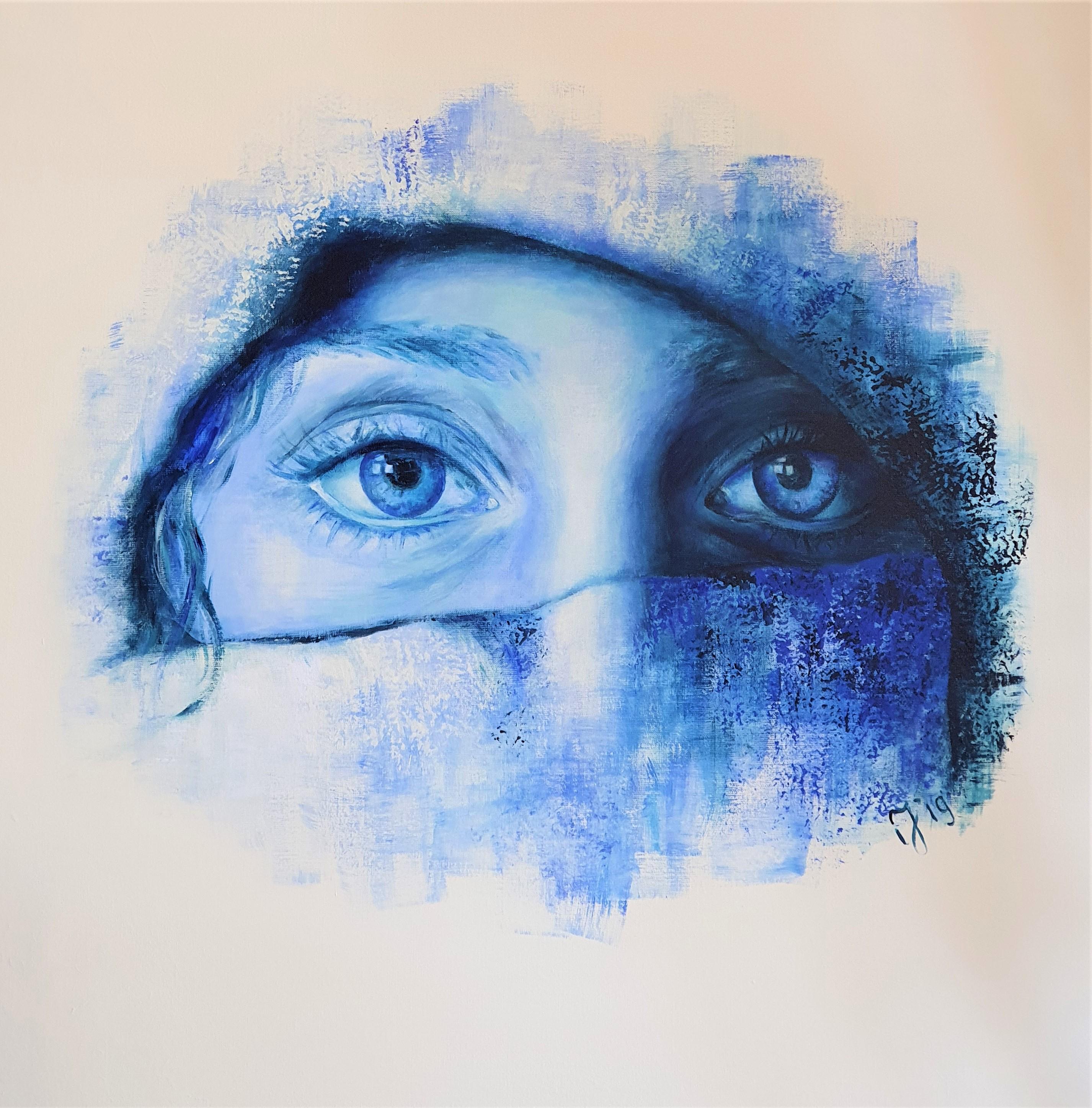 Delft Blue In Marrakesh   Portretten   90x90   Acryl Op Linnen