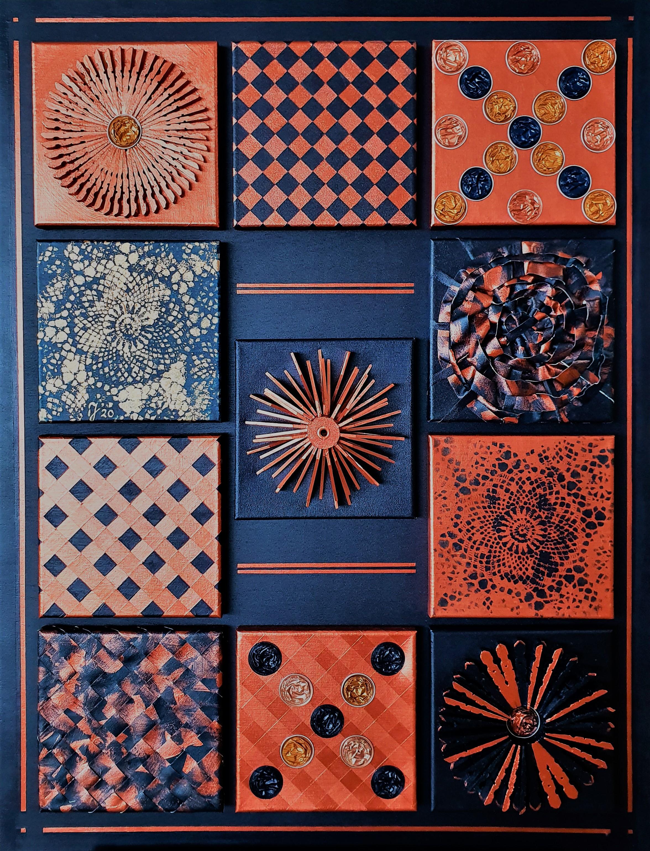 Blue And Copper | abstract | 20x20 Doekjes Op Paneel