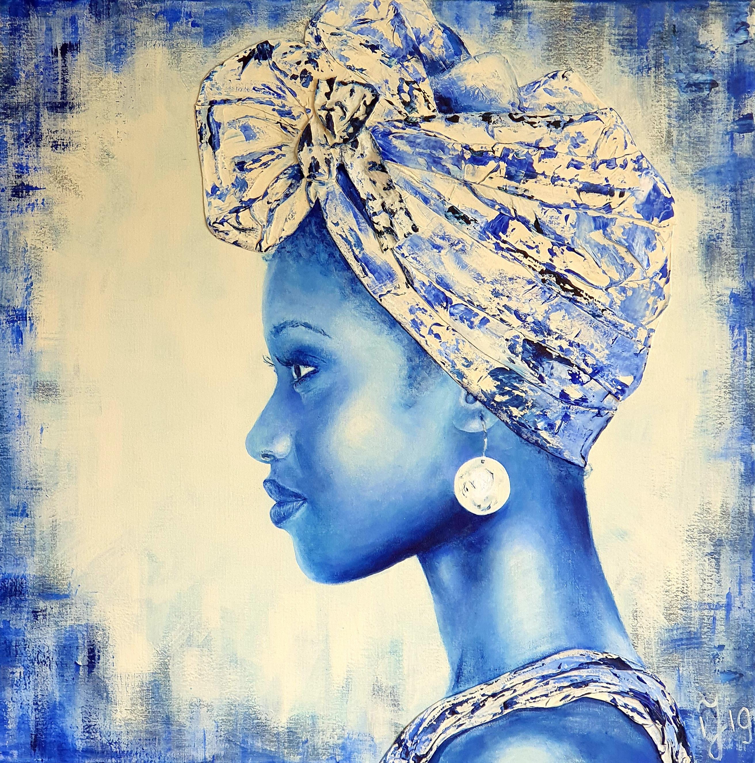 Delft Blue In Afrika 2   Portretten   30x30   Foto Kunst In Epoxy