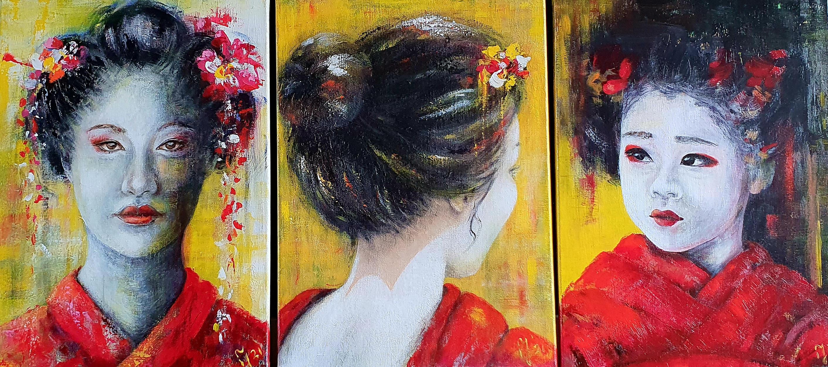 Drieluik   Portretten   3 keer 50x70   Acryl Op Linnen
