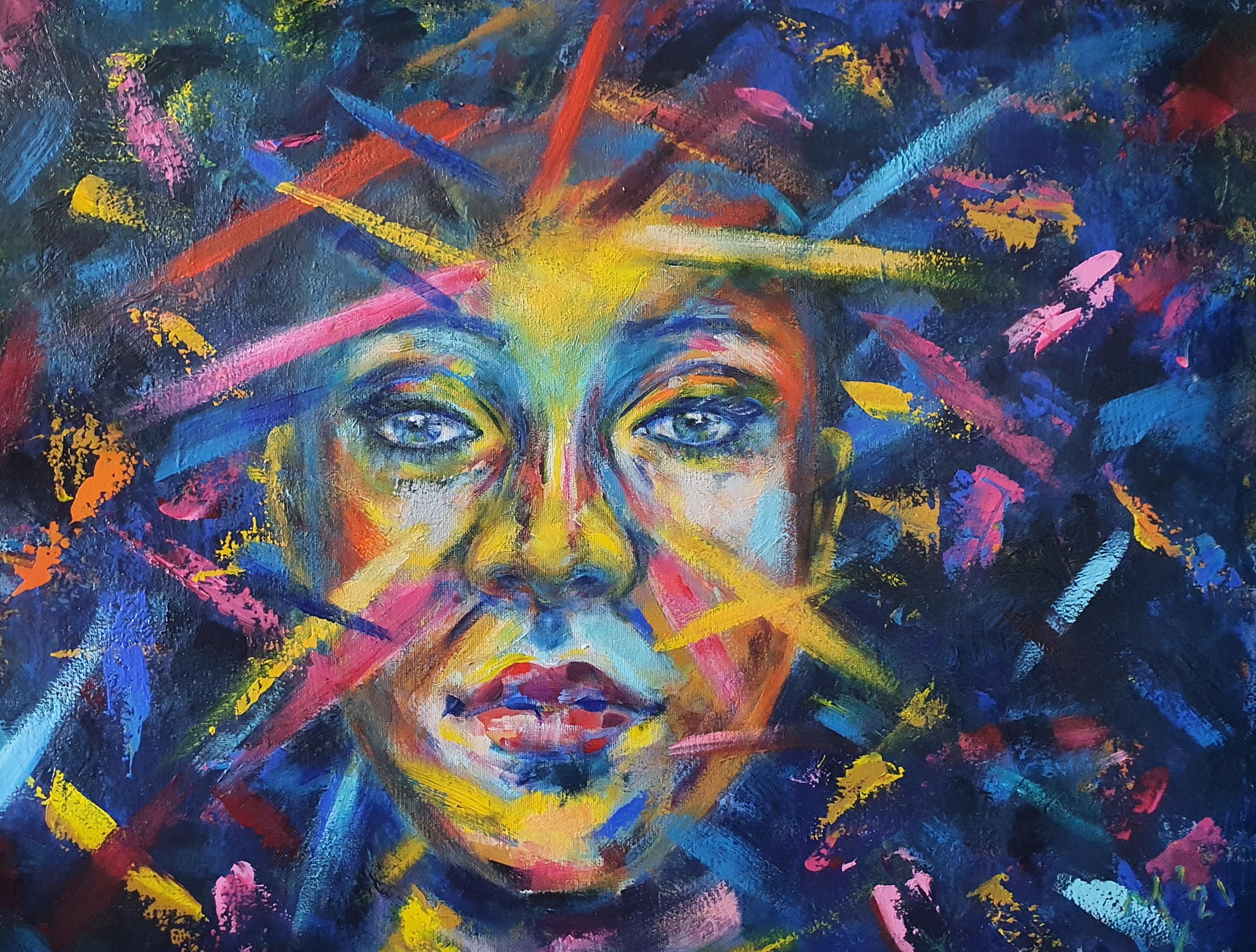 Struggle   Portretten   80x100   Acryl Op Linnen