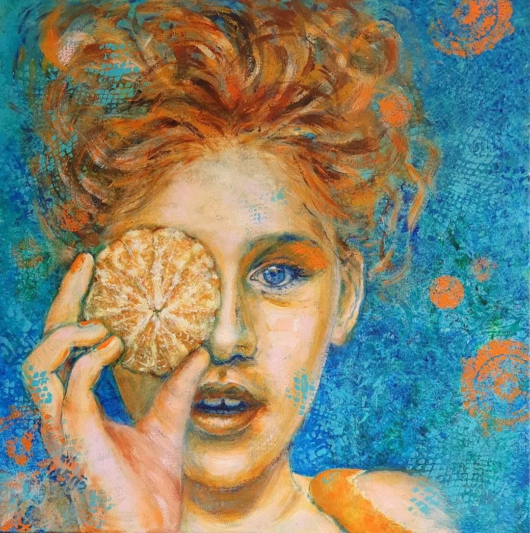 Orange   Portretten   80x80   Acryl op Linnen