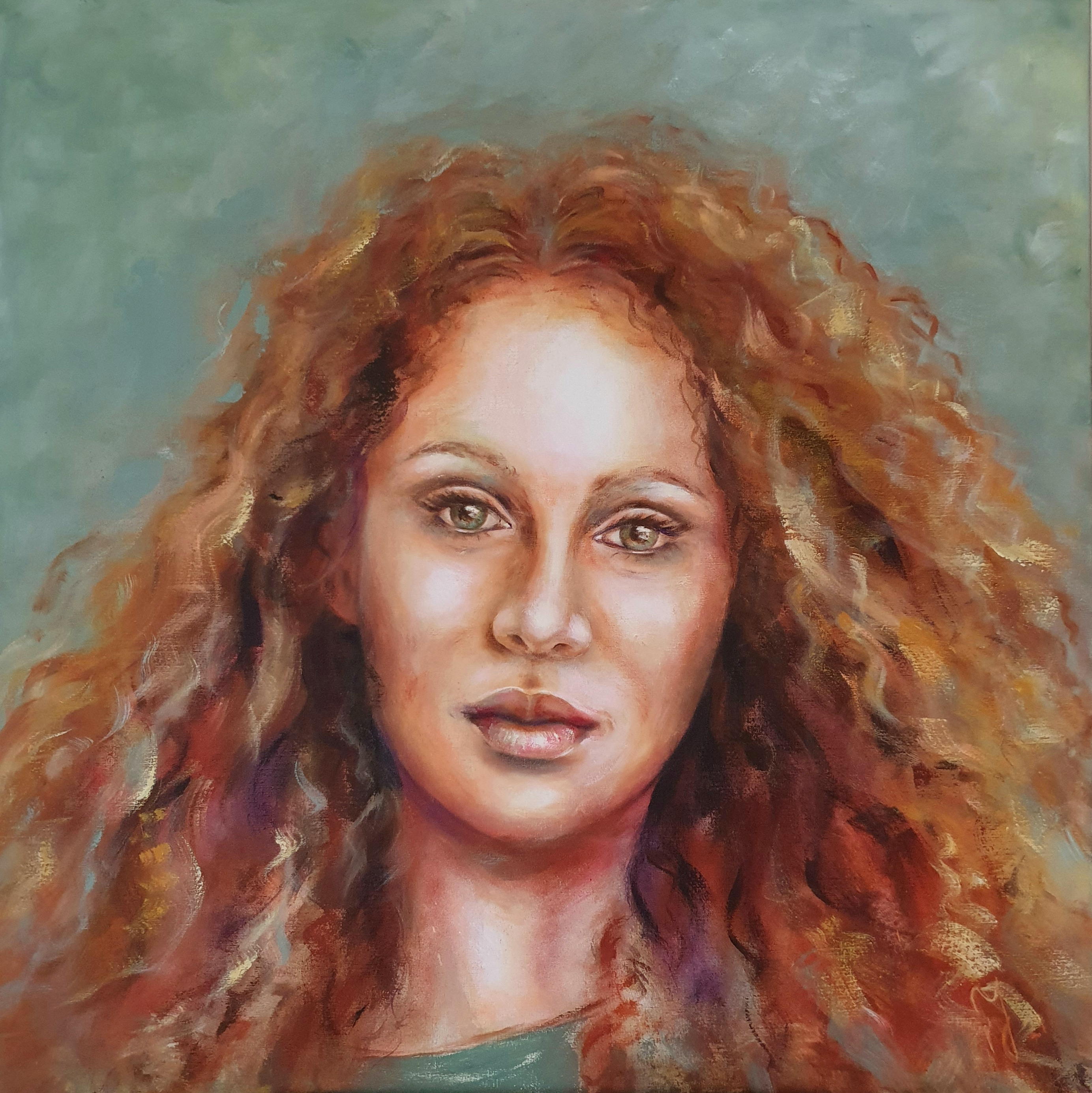 Redhead   Portretten   100x100   Acryl Op Linnen