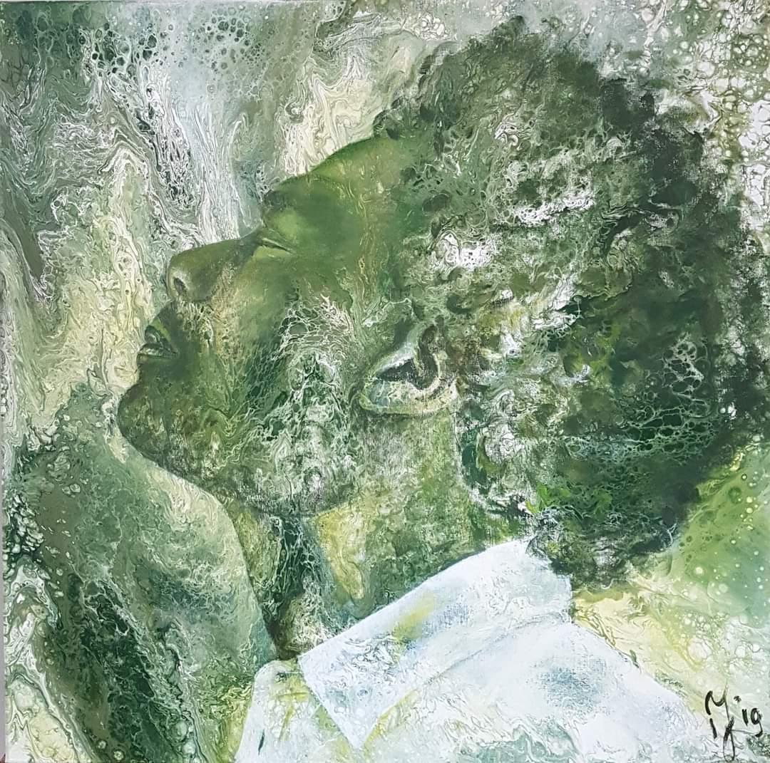 Man In Green   Portretten   90x90   Acryl Op Linnen